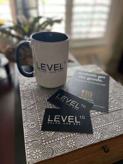 Mugs and business card for Level 10 Salon and Spa by Bold Images in Print